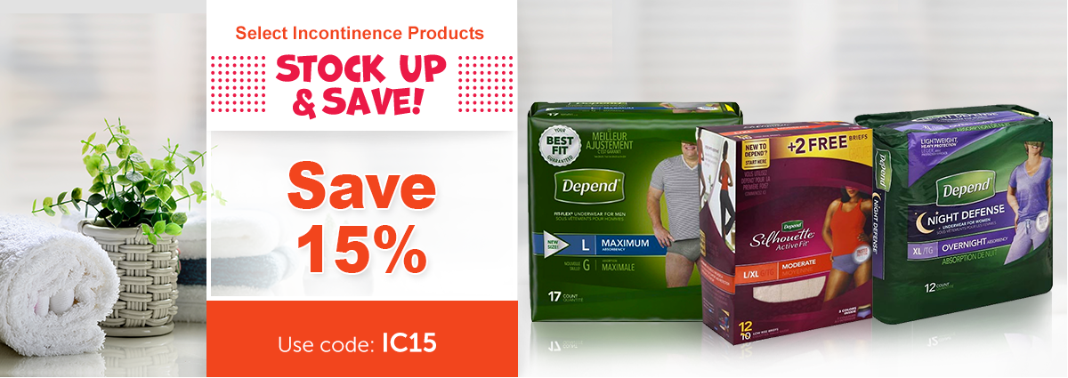 Save 15% on Select Incontinence Products